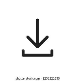 Thin line download icon, vector illustration