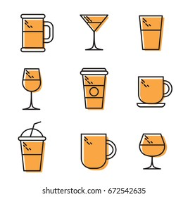 Thin Line drink Icons For Business, Interface. Wine, beer, tea, brandy, coffee, water, cocktail