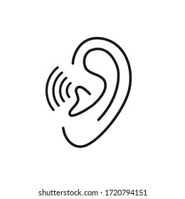 thin line ear logo like easy listening. lineart style trend modern stroke logotype graphic art design isolated on white background. concept of acoustic sensory perception and part of the human head