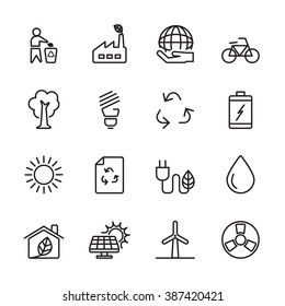 thin line ecology energy icon set, vector eps10.