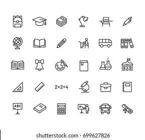 thin line education icons set black on white background
