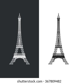 Thin line Eiffel tower vector illustration icon. Outline landmark French Paris symbol isolated on white. Premium quality modern linear stroke logo of France concept pictogram.