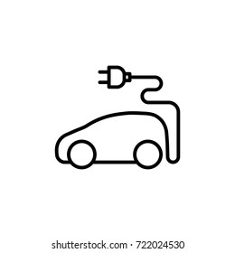thin line electric car icon on white background