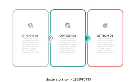 Thin line elements infographic label design with arrows. Business concept with icons and 3 options or steps.