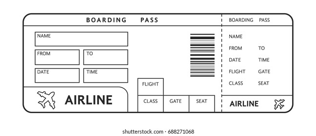 thin line example of ticket on plane with text. concept of empty blank doc sign for air travel and boarding pass. simple flat style trend modern graphic linear design isolated on white background