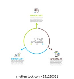 Thin line flat arrows for infographic. Template for diagram, graph, presentation and chart. Business concept with 3 options, parts, steps or processes. Stroke icons.