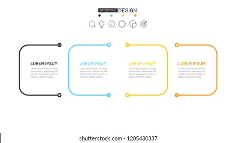 Thin line flat business process. Timeline with 4 steps, options. Vector linear infographic element.
