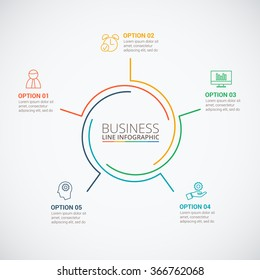 Thin line flat circle for infographic. Template for cycle diagram, graph, presentation and round chart. Business concept with 5 options, parts, steps or processes. Data visualization.