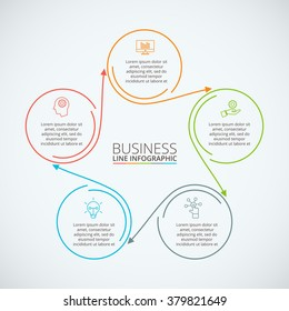 Thin line flat circle infographic. Template for diagram, graph, presentation and chart. Business concept with 5 options, parts, steps or processes. Data visualization.