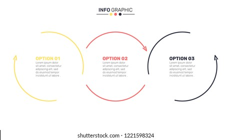 Thin line flat circles for infographic. Business concept with 3 steps, options, arrows, process. Vector illustration. Can be used for diagram, graph, presentation and chart, web design.