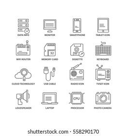 Thin line flat conceptual icons. Set of elements on technology.