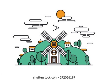 Thin line flat design of abstract beautiful village on the green hills, rural landscape with meadow field, small house and wind mill. Modern vector illustration concept, isolated on white background.
