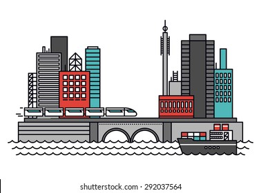 Thin line flat design of abstract existing business city architecture, urban infrastructure for shipping carriage and transportation. Modern vector illustration concept, isolated on white background.