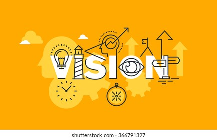 Thin line flat design banner of company vision statement.  Modern vector illustration concept of word vision for website and mobile website banners, easy to edit, customize and resize.