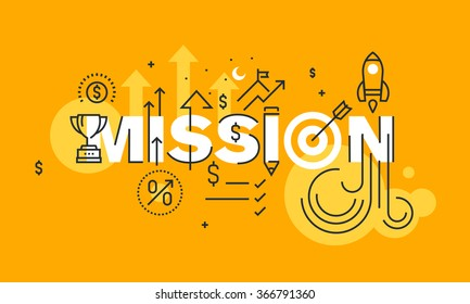 Thin line flat design banner of business mission statement.  Modern vector illustration concept of word mission for website and mobile website banners, easy to edit, customize and resize.