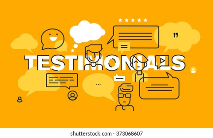 Thin line flat design banner for testimonials web page, marketing, presentation, product or service rating, information. Modern vector illustration concept for website and mobile website banners.