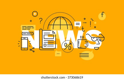 Thin line flat design banner for news web page, information on events, activities, recent company information. Modern vector illustration concept of word news for website and mobile website banners.