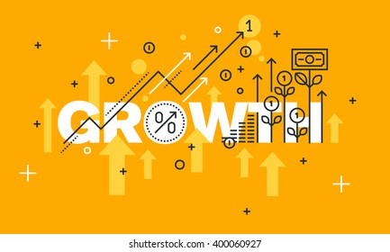 Thin line flat design banner for GROWTH web page, finance, investment, banking, production growth, the company's profits. Vector illustration concept of word GROWTH for website banners.