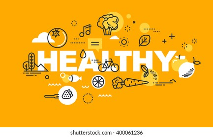 Thin line flat design banner for HEALTHY web page, organic food, sport and activities, diet, relationship, health plan management. Vector illustration concept for website and mobile website banners.