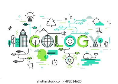 Thin line flat design banner for eco-friendly and environment web page. Modern vector illustration concept of word ecology for website and mobile application templates.