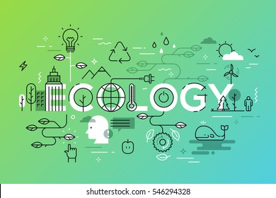 Thin line flat design banner for ecology and environment web page. Modern vector illustration concept of word ecology for website and mobile website banners.