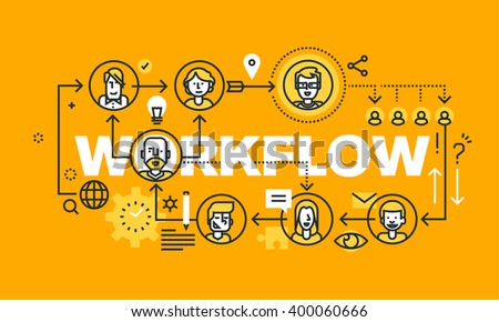 Thin line flat design banner for WORKFLOW web page, business process, project management, teamwork, organization. Vector illustration concept of word WORKFLOW for website and mobile website banners.