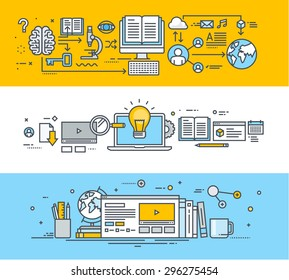 Thin line flat design banners for video tutorials, online training courses, online universities, online education. Vector illustrations for website banners, promotional materials, education app.