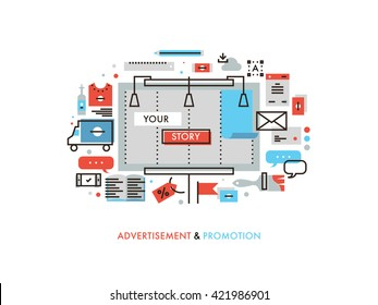 Thin line flat design of billboard advertising story promotion, promo graphics materials, marketing campaign solution for new product. Modern vector illustration concept, isolated on white background.