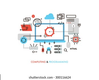 Thin line flat design of cloud computing technology, wireless communication, website programming code, hosting service for developers. Modern vector illustration concept, isolated on white background.