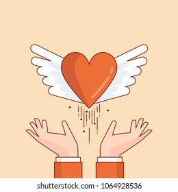 Thin line flat design colorful vector illustration of hands letting out winged heart, concept for charity, help, supporting, work of volunteers isolated on stylish background