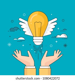 Thin line flat design colorful vector illustration of hands letting out winged light bulb. Concept for startup, creativity, innovation isolated on bright background