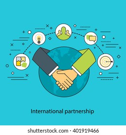 Thin line flat design colorful vector illustration concept for international partnership, cooperation, collaboration, global business isolated on stylish background