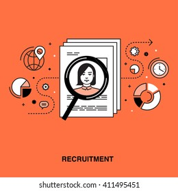 Thin line flat design colorful vector illustration concept for human resource management, recruitment, headhunting, searching employees, selecting professional staff isolated on bright background