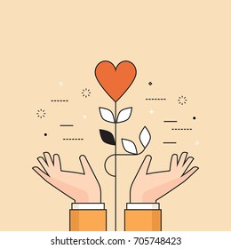 Thin line flat design colorful vector illustration of heart plant in hands, concept for charity, help, supporting, work of volunteers isolated on stylish background