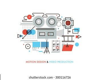 Thin line flat design of commercial video production studio, motion graphic and audio correction elements, lights and camera action. Modern vector illustration concept, isolated on white background.