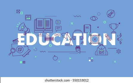 Thin Line Flat Design Composition for Education , Classical and On-line Education, Increasing Knowledge. Vector Illustration Concept for Website and Mobile Website Banners.