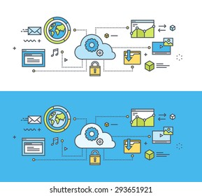 Thin line flat design concept on the theme of cloud computing. Concept for website banners and promotional materials.