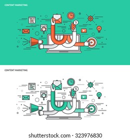Thin line flat design concept banners for Content Marketing. Modern vector illustration