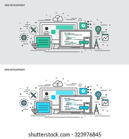 Thin line flat design concept banners for Web Development. Modern vector illustration