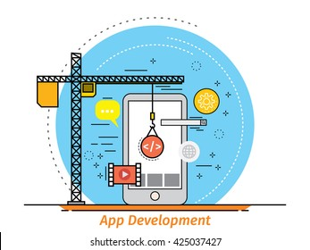 Thin line flat design concept for mobile Applications development