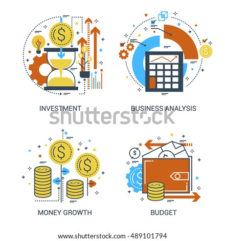 thin line flat design concept investment stock vector royalty free