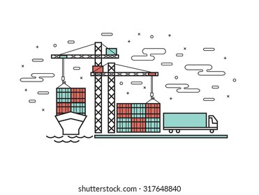Thin line flat design for container ship, Industrial port, Container Terminal, Truck transport container