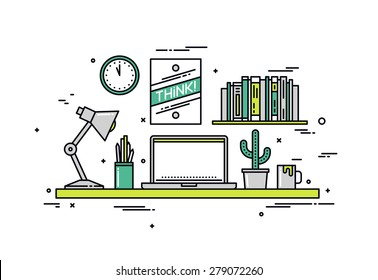 Thin line flat design of creative designer workspace, modern office desk with laptop, stylish hipster poster on wall for room interior. Modern vector illustration concept, isolated on white background