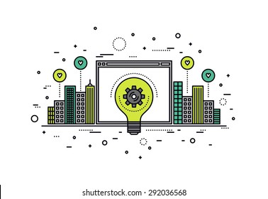Thin line flat design of crowdsourcing innovation web platform for city infrastructure, big idea realization for invention progress. Modern vector illustration concept, isolated on white background.