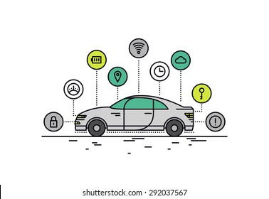 Thin line flat design of driverless car technology features, autonomous vehicle system capability, internet of things road transport. Modern vector illustration concept, isolated on white background.