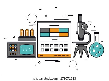 Thin line flat design of electrical science research, technical documentation on website, vacuum lamp tube and retro oscilloscope. Modern vector illustration concept, isolated on white background.