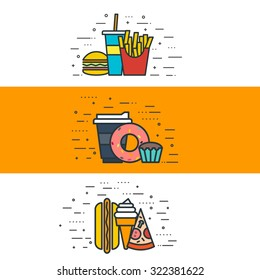 thin line flat design of fast food products, fried potatoes, sandwich, soda, coffee, sweets, hot dog, ice cream, pizza. Modern vector illustration concept banners