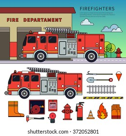 Thin line flat design of fire-engine. Firefighters truck standing near fire department. Emergency concept. Fire-engine, harmer, stairs, other fire equipment isolated on white background