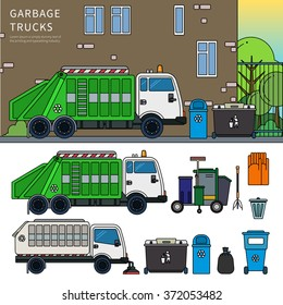 Thin line flat design of garbage truck. Garbage car on the street. Ecology and recycle concept. Garbage car, trash cans, brooms and gloves isolated on white background