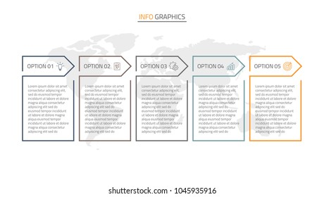 Thin line flat design infographics template.Timeline with 5 options, steps or processes.Vector linear elements.
